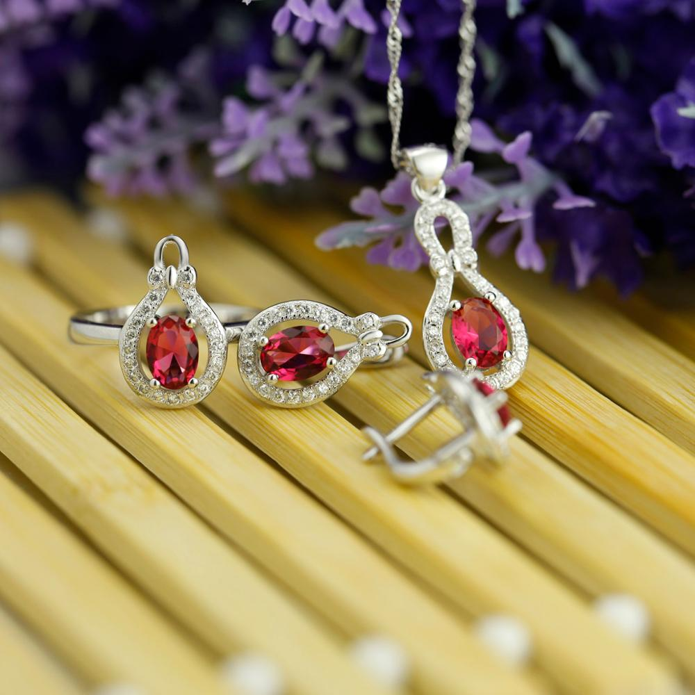 Original 925 Silver Jewelry Sets, blue bridal jewelry set with ruby stone