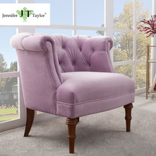 High quality elegant accent upholstery arm chair purple botton tufting fabric single seat living room sofa furniture