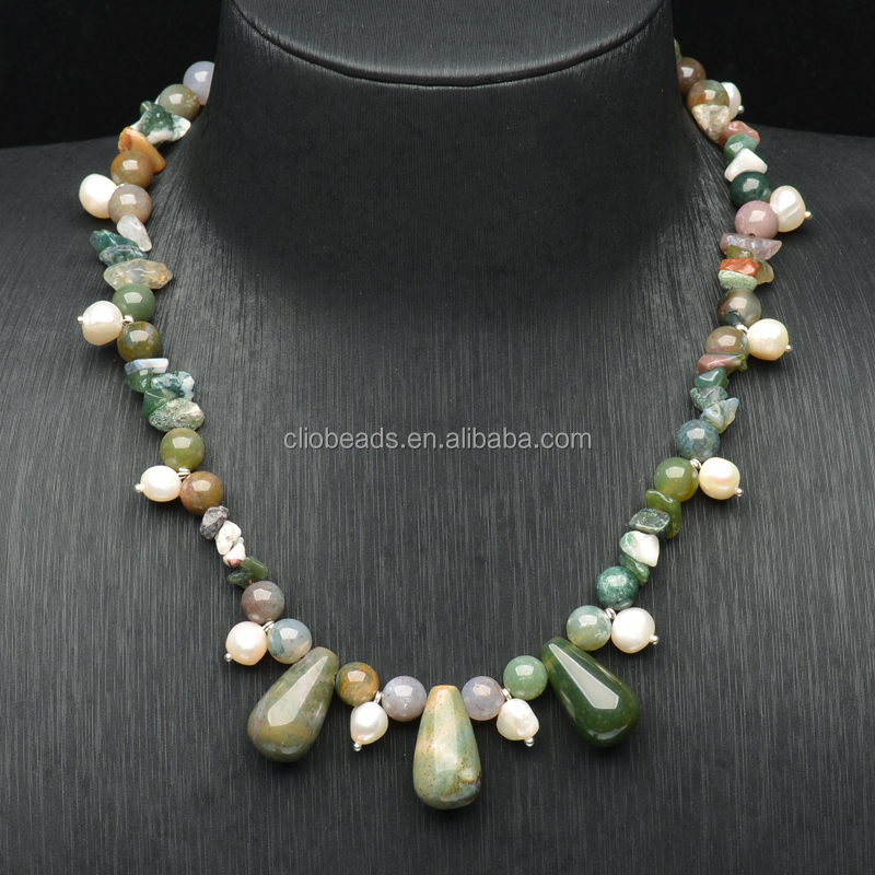Mix Semi-Precious Chips and Bead Necklace ,with Pearl Pendant Necklace