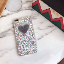 Hot Selling Love Heart Glitter Phone Case for iPhone 7 7 Plus Bling Case, Back Cover for iPhone 6 6s Plus