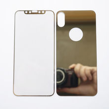 Luxury Gold Mirror Tempered Glass Front Back Screen Protector For iPhone X