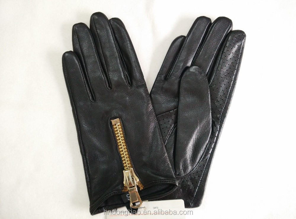 Woman Goatskin Leather Glove Driving Glove with Zipper
