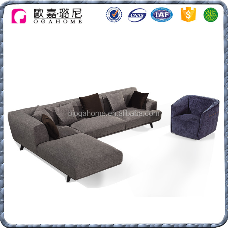 Manufacturer Modern L Shaped Custom Fabric Modular Couch Sofa Design