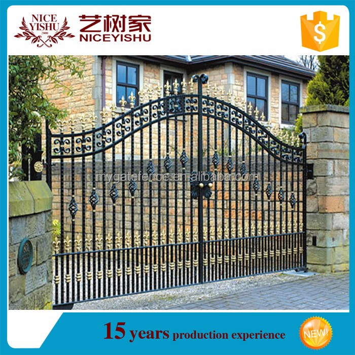 allibaba.com yishujia supplier cheap modern simple house gate grill designs/metal gate designs/different design of gate colors