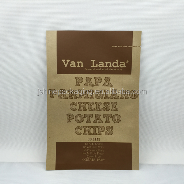 High quality heat seal foil potato chips kraft paper packaging bag