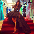 Special Occasion Appealing High Low Black Evening Dresses Short Front Long Back Lace Long Sleeve Celebrity Evening Gown