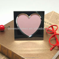 mini 2x3 3x3 baby aluminum love photo picture frame designed with two embossed heart