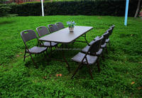 6FT Folding in Half Table with Rattan