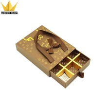 Sliding foldable fancy paper drawer type chocolate box with paper sleeve