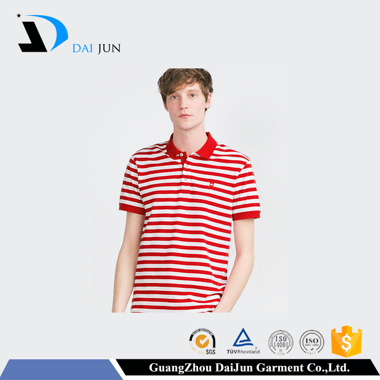 Daijun custom no label blank slim dry fit mens polo collar striped t shirt
