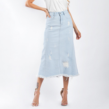Europe and America street light color a line denim spring stretch high waist burr casual ripped women long <strong>skirt</strong>