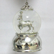 Christmas Reindeer Silver Snow Globe Ornaments