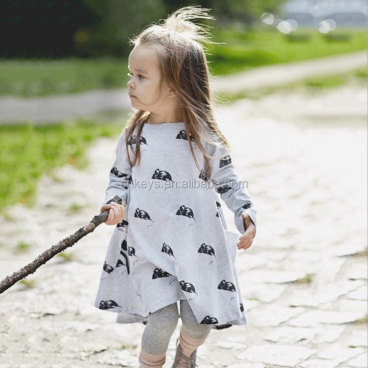 E0020A New Autumn Girls Dress Sweet Bird Print Baby Girls Dress Soft Long Sleeve O-neck Children Dress For Wholesale