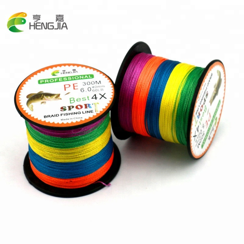 High Strength Resists Abrasion 300m <strong>PE</strong> 4 Wire 5 colors mixed Braided fishing line