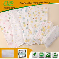All cotton baby gauze handkerchief with cute design muslin baby handkerchief