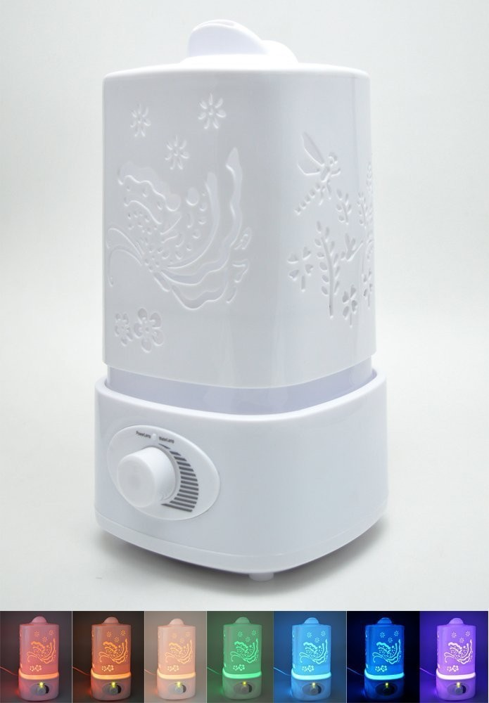 Big Water Tank Capacity - Silent Ultrasound Humidifier - Premium Quality - 7 Different Colors or Turn Off for Better Sleep Quali