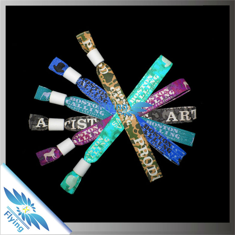 promotional item custom fabric bracelet logo wristband with plastic snap