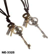 Big Key cross pendant Men Women leather choker necklace