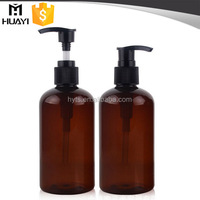 high quality empty plastic pet 300ml amber bottle with lotion pump