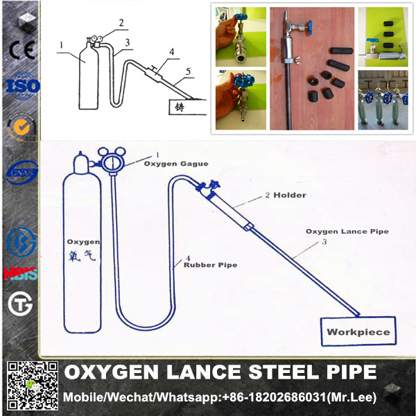 hot <strong>sale</strong> welded steel oxygen lance pipes 17mm with holder
