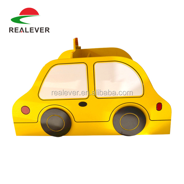 Cheap daycare furniture wooden toy storage cabinet/cute taxi shape children bookshelf