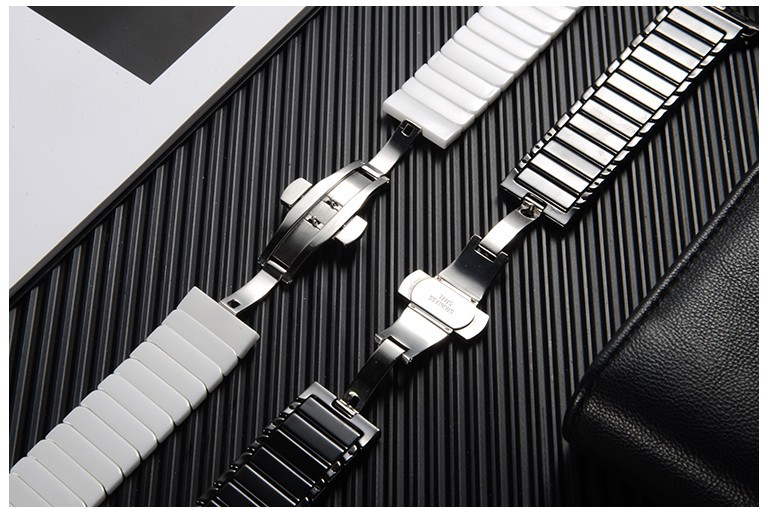 BOX-W  Compatible Apple Watch Strap Series 4/3/2/1 42mm/44mm Women Ceramics Replacement Band Compatible iwatch Series 4/3/2/1