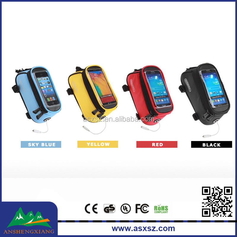 Bicycle Bike Front Tube bag Cycling Waterproof bag Mobile Phone Screen touch Holder
