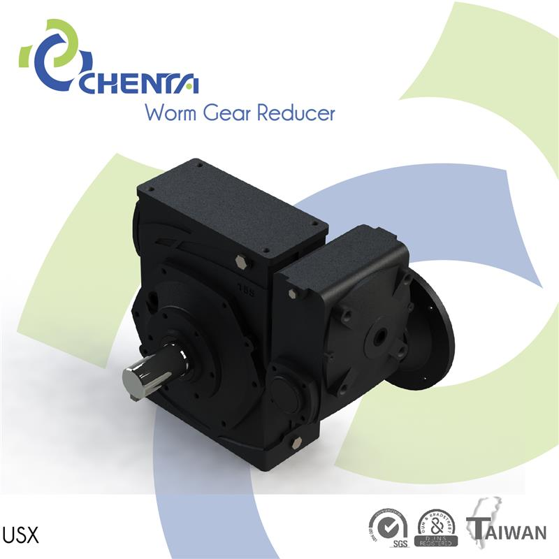 USX worm gear cutting alloy dc motor worm gearbox with flange right angle bevel gear speed reducer