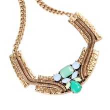 Multi-Color Beads Hammered Metal Vintage Bib Necklace K154201-4450