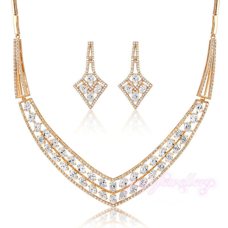 Shinning bridal wedding necklace african jewelry set 18k gold plated