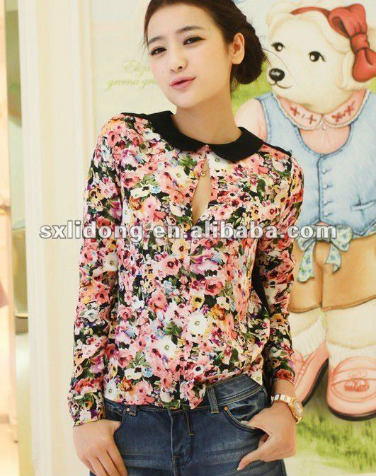 New blouses fashionable 2013/women long sleeve printed chiffon blouse design 2012