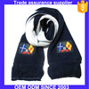 2016 Wholesale knitted football scarf soccer scarf with custom logo embroidery