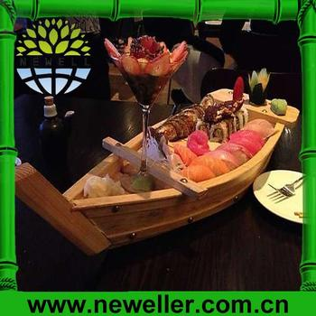 2014hot sell wooden sushi boat serving plate dish tray for Bamboo canape boats