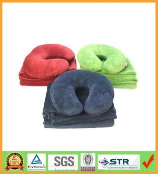 Travel kits including navy blue travel blanket with U shape pillow