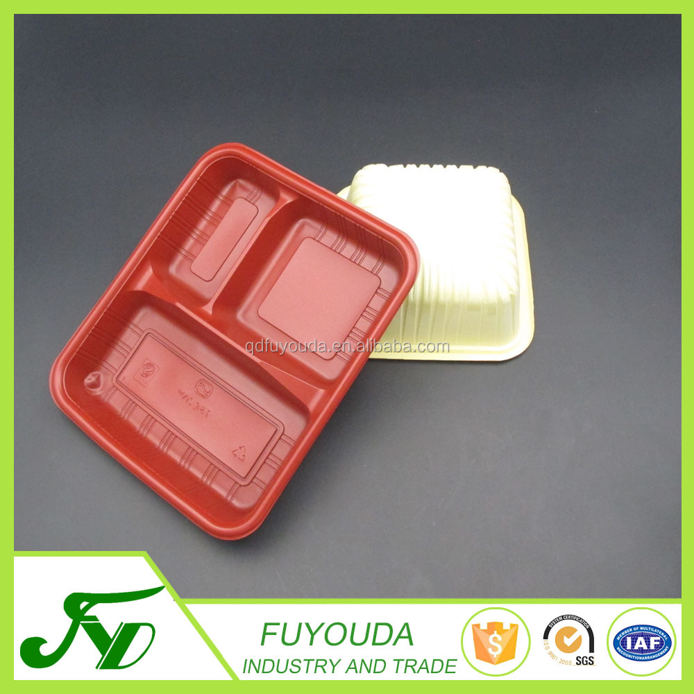 Food grade disposable plastic clamshell blister cookie container with divider