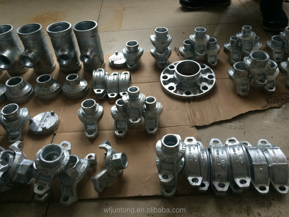 UL FM CE approved ductile cast iron grooved pipe fittings and coupling clamp/galvanized flange