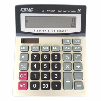 12 digits battery&solar two way power office/desktop calculator JS-1200V