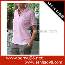2013 new design pink woman polo t shirt wholesale OEM