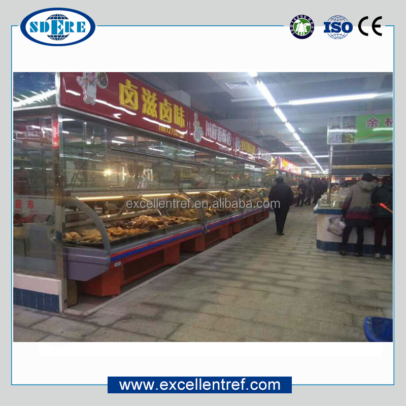 deli food counter display refrigerator in restaurant or supermarket