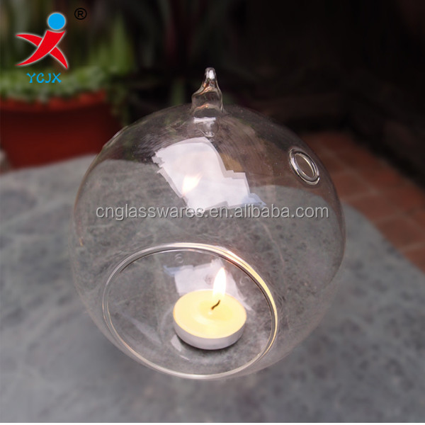 hanging glass globe tealight candle holder