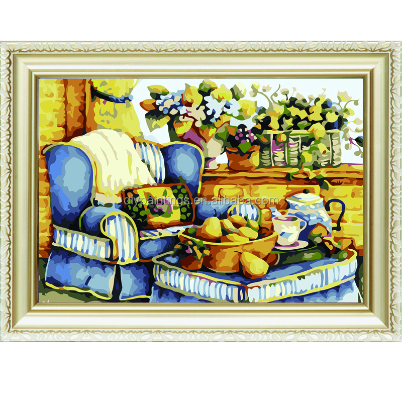 Hand-paint modern flower oil painting by numbers kits