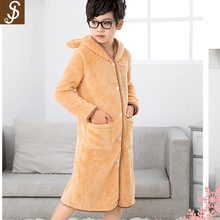 S&J Superior quality soft and warm 100% polyester bathrobe orange color for boys