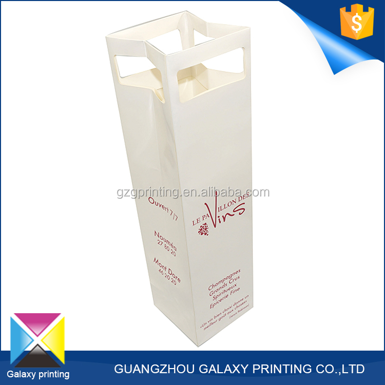 New design promotional custom size luxury red wine paper bag which has glossy lamination