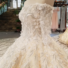 LS05400 latest design lace puff ball skirt applique with long train with queen anne neckline wedding dress