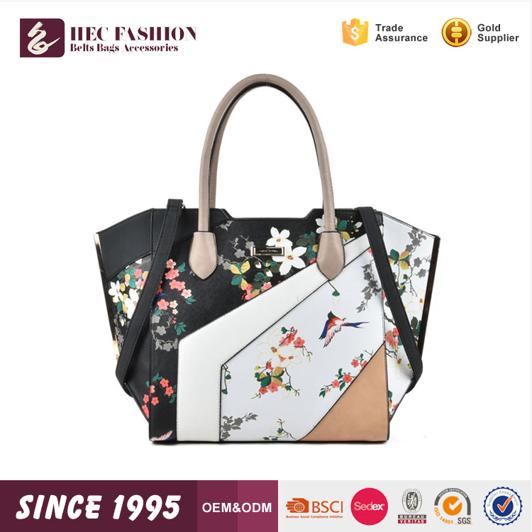 HEC 2017 Fashion Flower Pattern Women Leather Handbags Wholesale Hand <strong>Bag</strong>