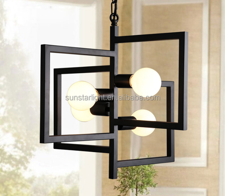 Black Iron Nordic Country Industrial Pendant Lights 4 Heads Yard Lamp For bedroom/bar Hang Lamps Home Decoration