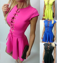 B30374A Latest fashion hot selling europe front cross bandage party dress