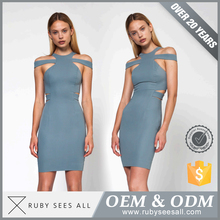 ladies fashion dresses with pictures Dress Brand Slim waist bandage design white color Blue stripes printed dress women