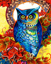 GZ474- 40*50 night owl fabric painting designs images for diamond painting