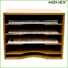 Bamboo File Organizer Desktop w Adjustable Shelves/Homex_BSCI